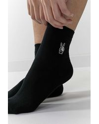 Urban Outfitters Uo Embroidered Peace Sign Socks - Black