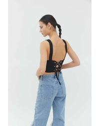 Urban Outfitters Uo Bexley Tie-back Tank Top - Black