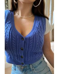 Urban Outfitters Uo Cable Knit Sleeveless Cardigan - Blue