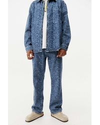The Ragged Priest Mid-wash Paisley Print Jeans - Blue