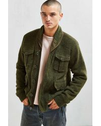 Schott Nyc - Sherpa Lined Military Cardigan - Lyst