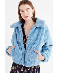 Urban Outfitters Uo Cropped Teddy Jacket - Blue