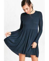 Kimchi Blue - Vidal Cozy Long-sleeve Babydoll Mini Dress - Lyst