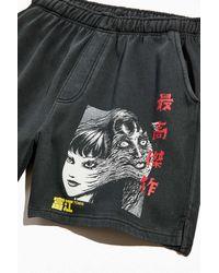 Urban Outfitters Junji Ito Tomie Graphic Sweatshort - Black
