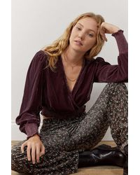 Urban Outfitters Uo Alice Wrap Blouse - Purple