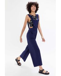 Urban Outfitters Uo Olive Poplin Open-back Overall - Blue