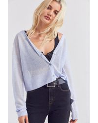 Cooperative Sheer Cropped Cardigan - Blue