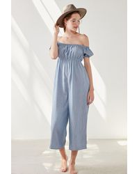 Kimchi Blue - Off-the-shoulder Puff-sleeve Jumpsuit - Lyst