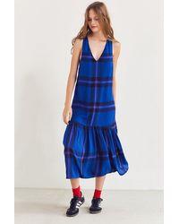 Cooperative - Drop-waist Plaid Midi Dress - Lyst