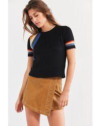 Cooperative Short Sleeve Rainbow Sweater - Black
