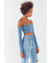 Kye Off-the-shoulder Cropped Sweater - Blue