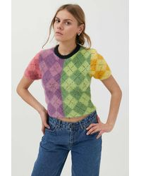The Ragged Priest Gentle Argyle Sweater - Multicolor