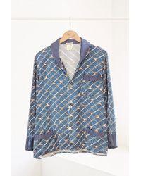 Urban Renewal - Vintage Navy Line Print Silky Pajama Top - Lyst