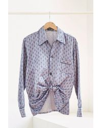 Urban Renewal - Vintage Sky Blue Floral Tile Print Silky Pajama Top - Lyst
