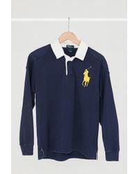 Urban Renewal - Vintage Polo Ralph Lauren Navy Blue Rugby Shirt - Lyst