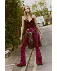 Urban Renewal Vintage Remnants Claret Red Velvet Flare Trousers