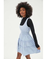 Urban Outfitters Uo Heather Tiered Ruffle Mini Dress - Blue
