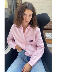 Tommy Hilfiger Cropped Long-sleeve Shirt - Pink