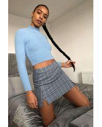 Urban Outfitters Uo Blue Check Notch Pelmet Mini Skirt