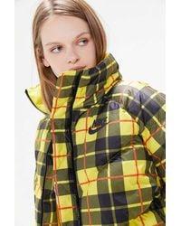 Nike Nike Plaid Puffer Coat - Yellow