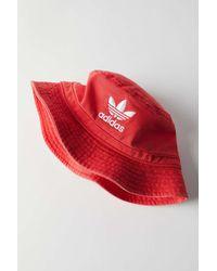 adidas Originals Denim Bucket Hat - Red