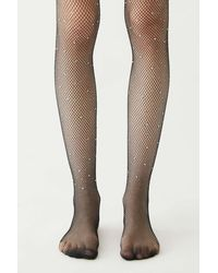 Urban Outfitters Jewel Fishnet Tight - Black