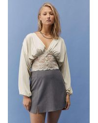 Urban Outfitters Uo Gianna Satin & Lace Blouse - Multicolour