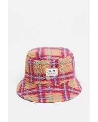 Urban Outfitters Uo Bright Check Borg Bucket Hat - Multicolour