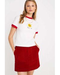 Lazy Oaf Not Ok Ringer T-shirt - White