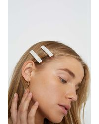 Urban Outfitters Amelie Enamel Hair Clip Set - Natural