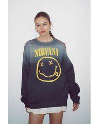 Urban Outfitters Nirvana Smiley Faded Crew Neck Sweatshirt - Gray