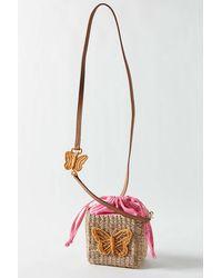 Serpui Agnes Butterfly Straw Crossbody Bag - Pink