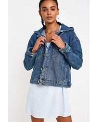a615dce00 Vintage Wash Hooded Western Denim Trucker Jacket - Womens Xs - Blue