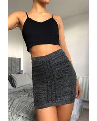Urban Outfitters Uo Black Ruched Stretch Glitter Mini Skirt