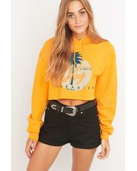 BDG - Surfing Cropped Yellow Hoodie - Lyst