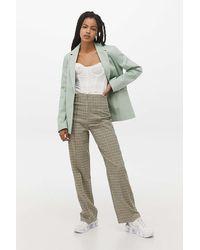 Urban Outfitters UO - Überlange High-Waist-Hose mit Karomuster - Grau