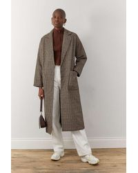 Urban Outfitters Uo Check Belted Crombie Coat - Brown