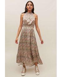 Dress Forum Floral Tiered Halter Dress - Multicolor