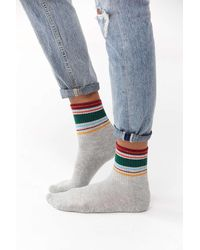 Out From Under Multi-striped Crew Sock - Grey