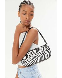 Urban Outfitters Zebra Print Baguette Bag - Black