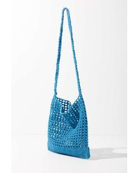 Urban Outfitters Melody Woven Fishnet Shoulder Bag - Blue