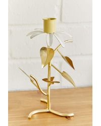 Urban Outfitters Helena Flower Taper Candle Holder - Green
