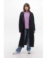 Urban Outfitters Uo Contrast Stitch Trench Coat - Black
