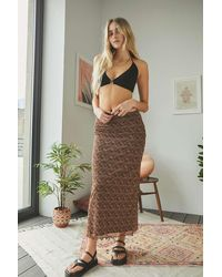 Urban Outfitters - Uo Brown Floral Awkward Mesh Maxi Skirt - Lyst