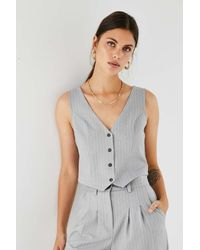 Urban Renewal Urban Outfitters Archive Silver Pinstripe Waistcoat - Grey