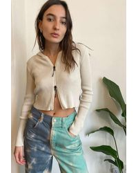 Urban Outfitters Uo Zip-through Hooded Cardigan - Natural