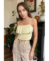 Urban Outfitters Uo Mila Satin Ruched Cami - Yellow