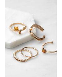 Urban Outfitters Gemstone Ring Set - Metallic
