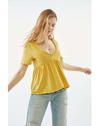 Urban Outfitters Uo Emily V-neck Babydoll Tee - Yellow