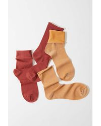 Urban Outfitters Sheer Roll Top Sock 2-pack - Red
